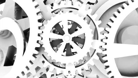 Metallic gears at grey background. Decorative frame. Abstract seamless grey surface. 3D rendering. Close up