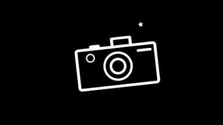 Camera Icon on black background, button collection original illustration. 写真素材