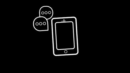 Phone icon or logo in line style with communication signs. High quality symbol on a black background.