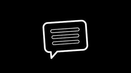 Abstract message, letter, chat icon over black background illustration. Flat design.