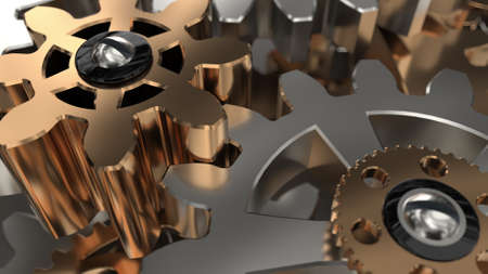 Beautiful Golden Gears Wall Front View Seamless Rotation. 3d Animation. Abstract Working Process. Teamwork Business and Technology Concept.
