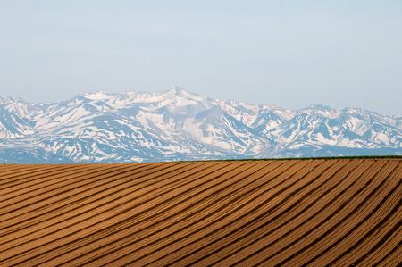 Tokachidake mountain range snow of spring field Stok Fotoğraf