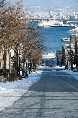 Winter slope with a view of the harbor in Hakodate