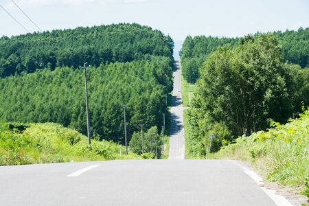 Road leading straight to the summer hills Banco de Imagens