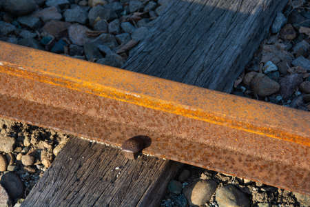 Unused and rusty railroad tracks