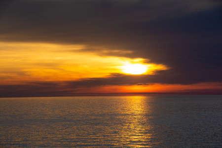 Beautiful dusk sea and orange sky