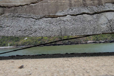 Photos of old pier bridges with traces of cracks, which were built for a long time to deteriorate. But can still be changed into tourist attractions