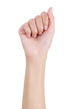 front side: Womans hand with fist gesture front side, Isolated on white background. Stock Photo