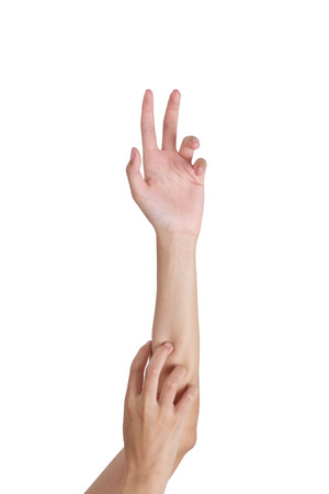 outstretched: Womans outstretched hands in a claw, Isolated on white background. Stock Photo