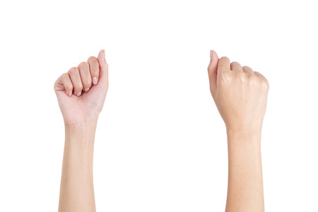 Womans hands with fist gesture front and back side, Isolated on white background.