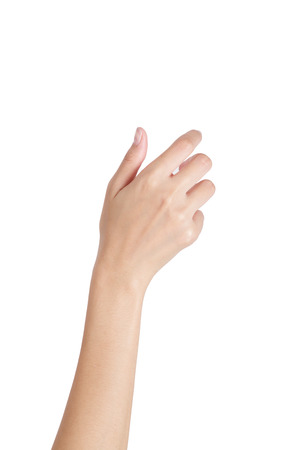 Woman's hand holding something empty back side, isolated on white background.