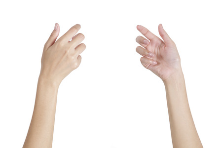 Woman's hands holding something empty front and back side, isolated on white background. Stockfoto