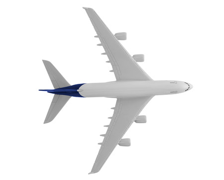 Airplane with blue color, Isolated on white background.