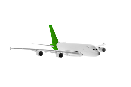 Airplane with green color, Isolated on white background. Stock Photo