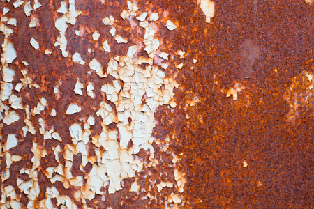 Corroded white metal background. Rusted white painted metal wall. Rusty metal background with streaks of rust. Rust stains. The metal surface rusted spots. Rusty corrosion.