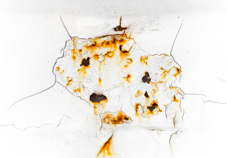 white background texture of Rusted steel and crack.