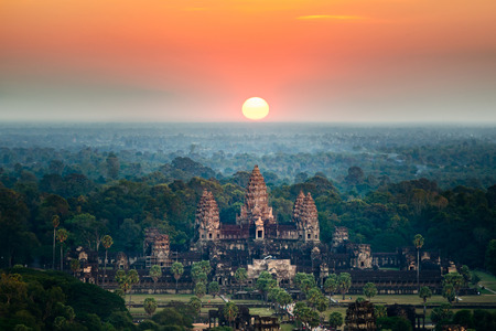 Beautiful aerial view of Angkor Wat at sunrise.