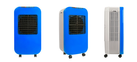 Collection of portable evaporative air cooler, window air cooler with ionizer, isolated on white background.