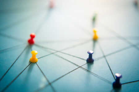 Network with pins, close-up