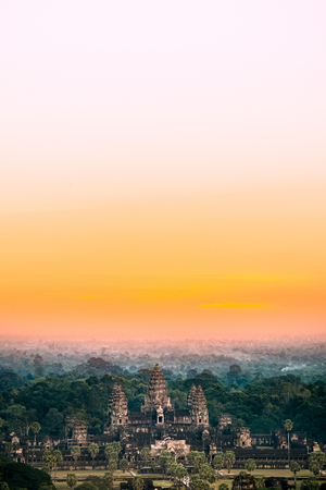 Beautiful aerial view  of Angkor Wat at sunrise , Siem Reap, Cambodia