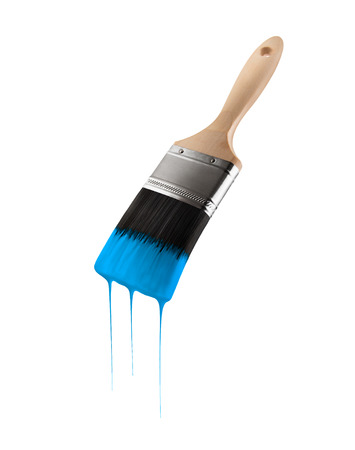 Paintbrush loaded with blue sky color dripping off the bristles. Isolated on white background.