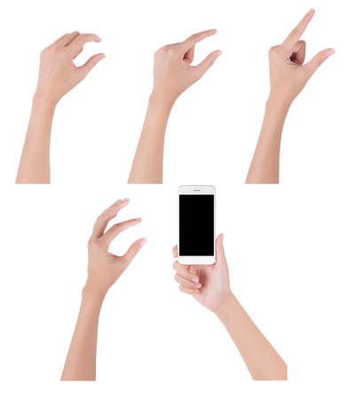 Woman hands holding smart phone with blank screen display and collection of different touch and pinch fingers for zooming something, digital and communication concept, Isolated on white background. Stock Photo
