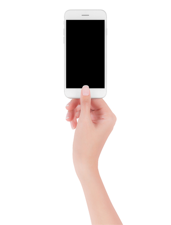 woman hand holding white smart phone with blank space of screen display, smart phone and mockup concept, Isolated on white background, Imagens