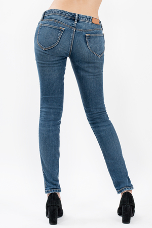 asian women posing in jeans back views,isolated on white background.