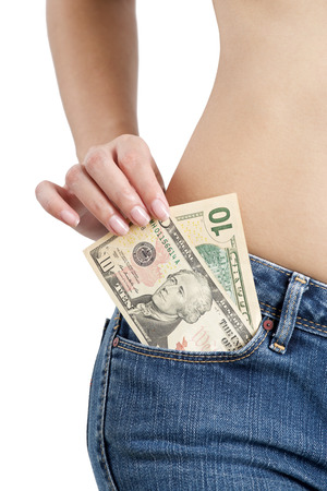 Asian woman wearing jeans with Cash in front Pocket isolated on a white background