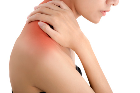 woman hand holding her neck and massaging  in pain area with red highlighted, Isolated on white background.