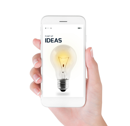 Stock Photo   Woman Using Her Smart Phone For Searching Realistic Photo Of  Light Bulb Turn On. Creative And Idea Concept, Isolated On White Background.
