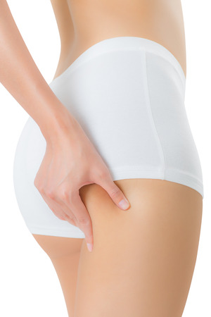 woman squeezing buttock and showing no cellulite in her perfectly shaped body, lose weight concept Isolated on white background.
