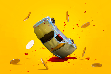 Car accident with damage blood splash and gold coins falling down and explosion scene, Car crash insurance and lose money. Safety, Emergency, Installment payment, Transport and Accident Concept.