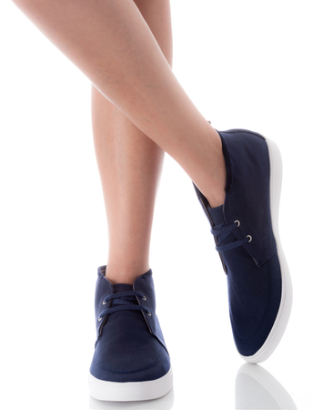 fac32788d Man feet wearing blue fashion shoes in hipster style