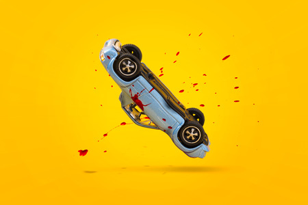 Car accident with damage and Blood splash scene, Car crash insurance. Travel, Safety, Emergency, Transport and Accident concept. Isolated on yellow background.