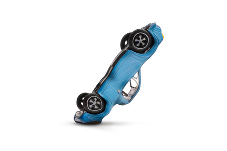 Blue car accident with damage scene- Car crash insurance- Transport and Traffic accident concept- Isolated on white background
