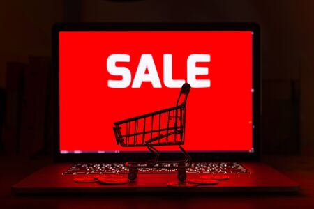 Shopping cart and stack gold bitcoins on computer laptop with a red sale tag on screen background- online shopping concept Imagens