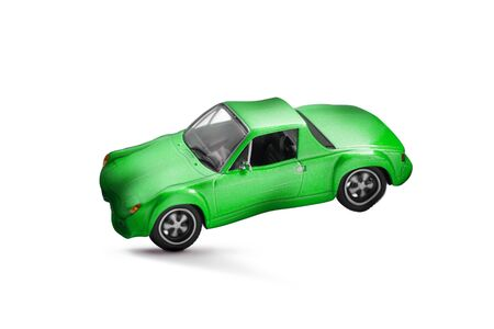Green car accident with damage scene- transport and traffic accident concept- Isolated on white background
