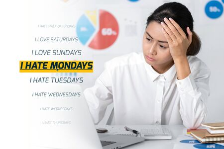 Asian businesswoman office worker with I hate Mondays wording artwork