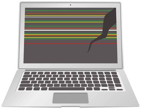 Image illustration of a broken laptop Illusztráció