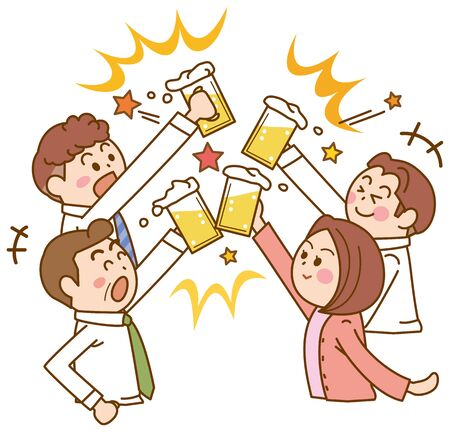 Illustration of a drinking party of a colleague at work