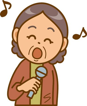 Image illustration of a senior woman doing karaoke Çizim