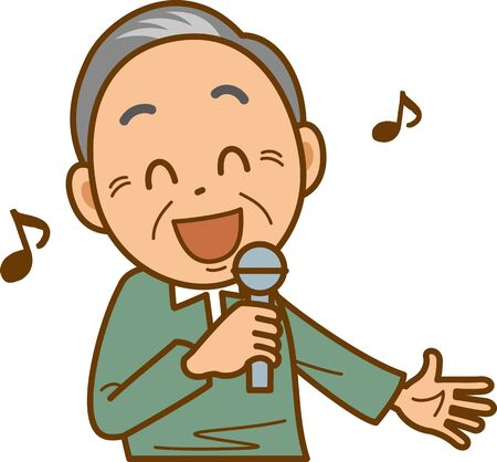 Image illustration of a senior man doing karaoke Çizim