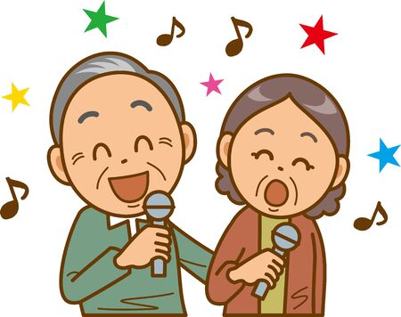 Image illustration of a senior couple doing karaoke Иллюстрация
