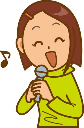 Image illustration of a woman doing karaoke