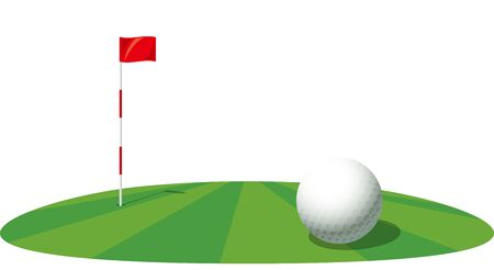 Image illustration of golf ball and pin. Green