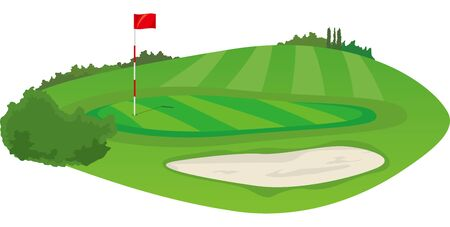 golf course. Green and bunker image illustration