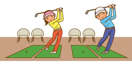 Image illustration of a man and a woman practicing golf Ilustração