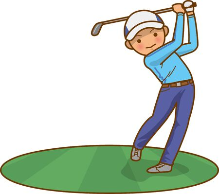 Golf Shot Male Image Illustration