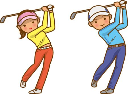 Image illustration of a man and a woman in a golf swing